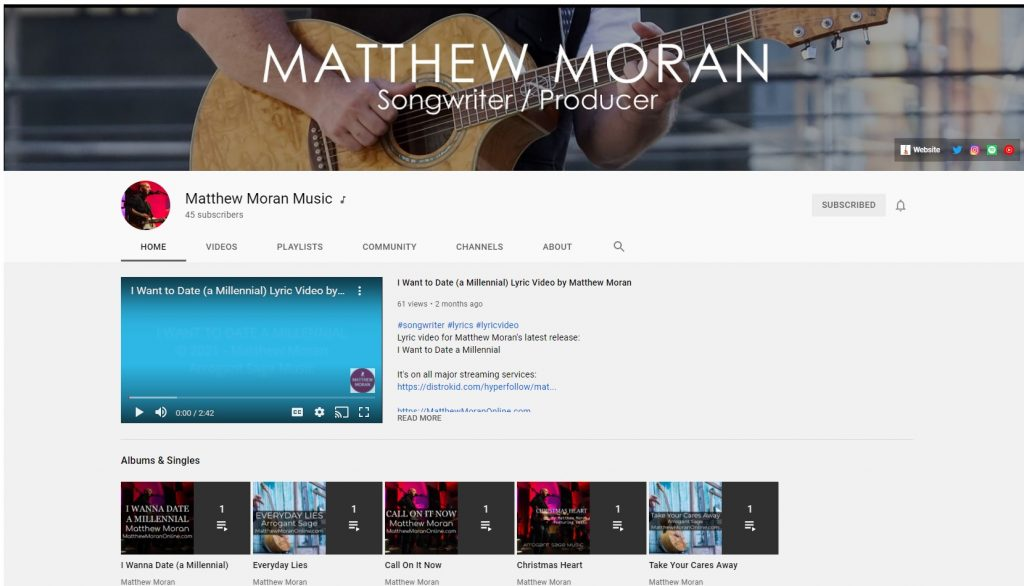 Image of Matthew Moran Music YouTube Channel