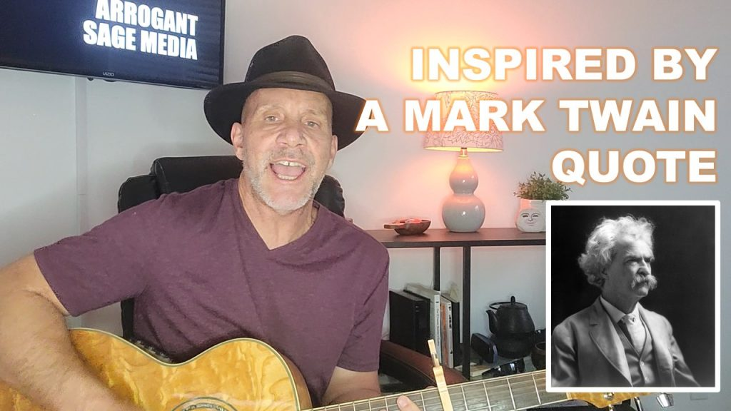 Image of Matt playing guitar with text overlay about song inspiration
